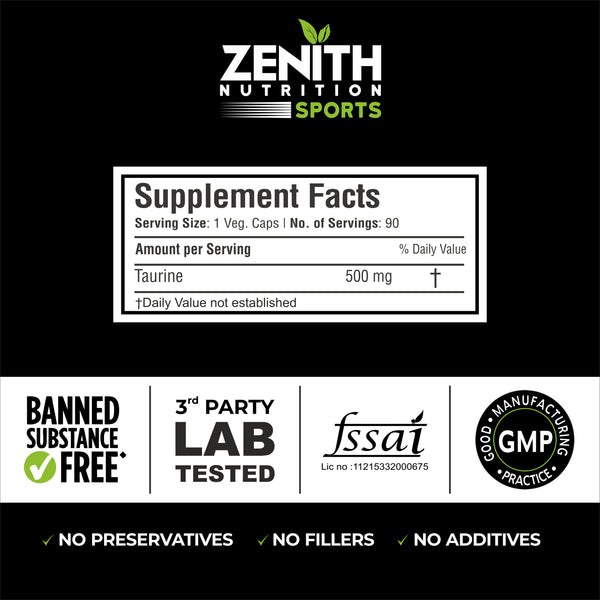 Zenith Sports Taurine 500 mg, 90 Capsules | Improves Performance | Reduces Stress