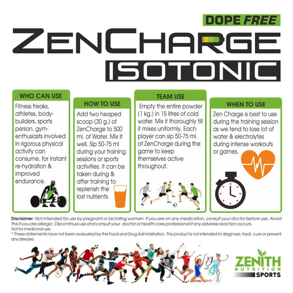 Zenith Sports ZenCharge Isotonic Energy Drink | Dope Free - Tangy Orange flavour-1 kg / 2.2 lbs