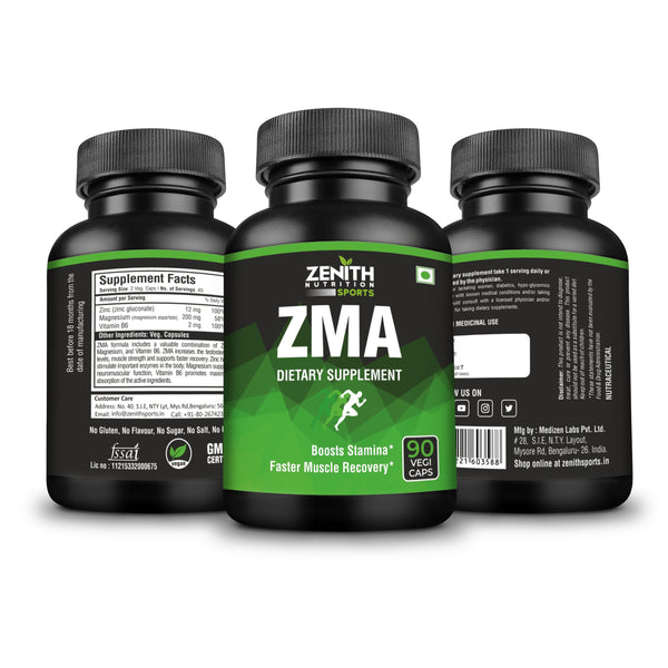 Zenith Sports ZMA, 90 Capsules | Increases Muscle Strength | Natural Mineral | Dope Free