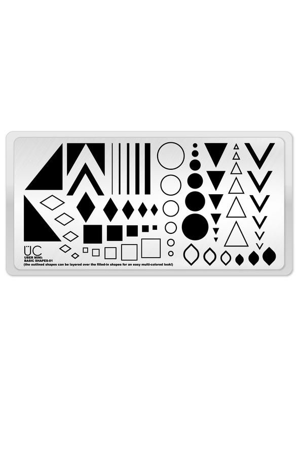 UberChic Stamping Plate Mini - Basic Shapes 01
