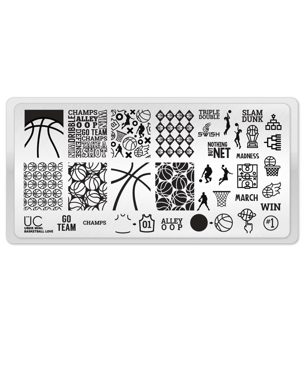 UberChic Stamping Plate Mini - Basketball Love