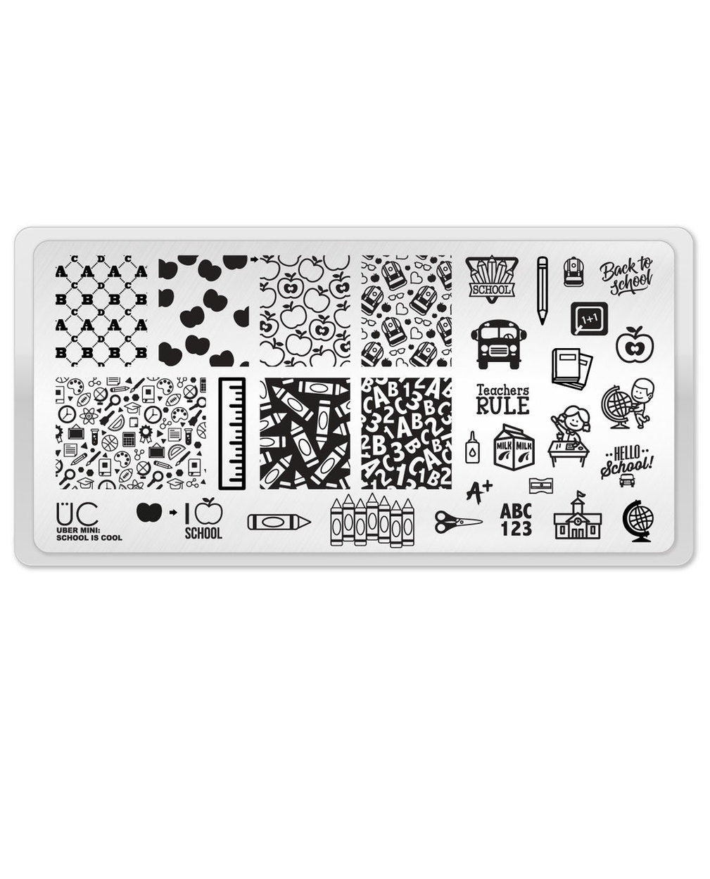 UberChic Stamping Plate Mini - School is Cool