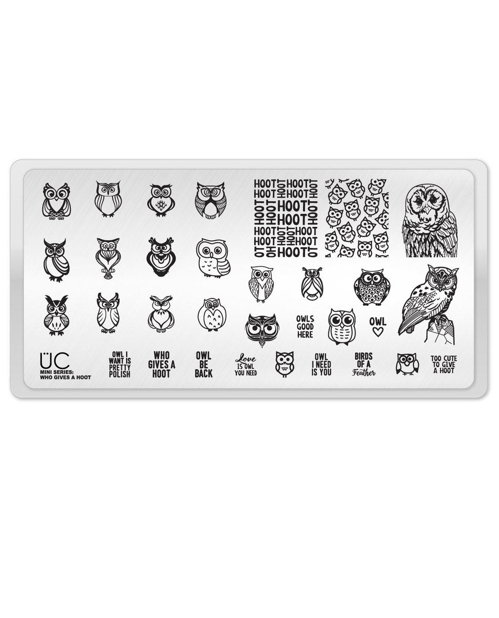 UberChic Stamping Plate Mini - Who Gives a Hoot