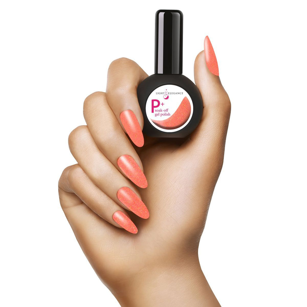 LE P+ Orange Crush Glitter Gel Polish 15mL