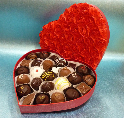 Hot Romance - Gourmet Handmade Mixed Chocolate Truffles, Red Heart Box of 26