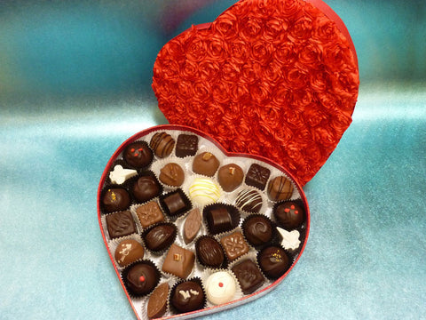 Wild Romance - Gourmet Handmade Mixed Chocolates & Caramels, Red Heart Box of 33