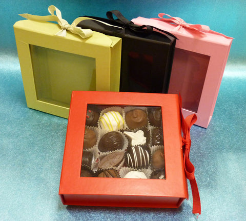 Gourmet Handmade Mixed Chocolate Truffles, Square Black Gift Box of 16