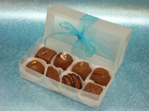 Gourmet Handmade Milk Chocolate Truffles & Caramels, Signature Box of 8