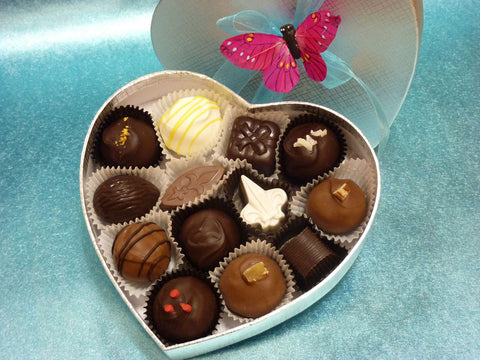 Sweet Romance - Gourmet Handmade Mixed Chocolate Truffles, Silver Heart Box of 13