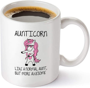 Aunticorn Funny Coffee Mug – Best Aunt Ever Gifts from Niece or Nephew – Birthday or Mothers Day Gift Idea for Aunts - 11 oz Tea Cup White