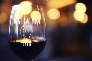 Best Cat Mom Ever Stemless Wine Glass