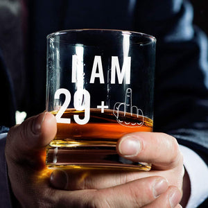 29 + One Middle Finger Whiskey Glass for Men and Women – Funny Birthday Gift Ideas for Mom Dad Husband Wife – 30 Year Old Party Supplies Decorations for Him, Her – 11 oz
