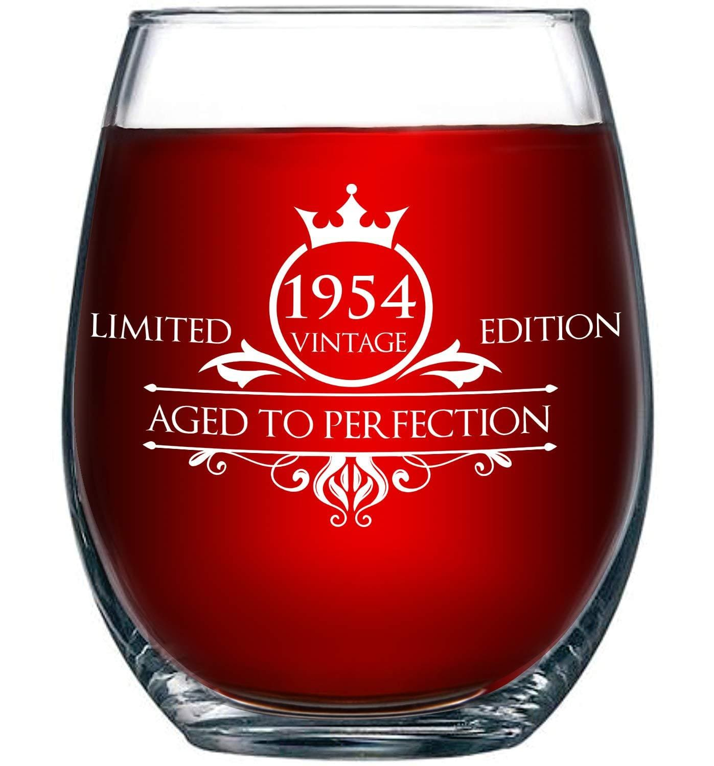 1955 65th Birthday Stemless Wine Glass