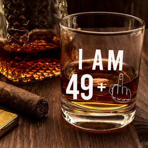 49 + One Middle Finger Whiskey Glass for Men and Women – Funny Birthday Gift Ideas for Mom Dad Husband Wife – 50 Year Old Party Supplies Decorations for Him, Her – 11 oz