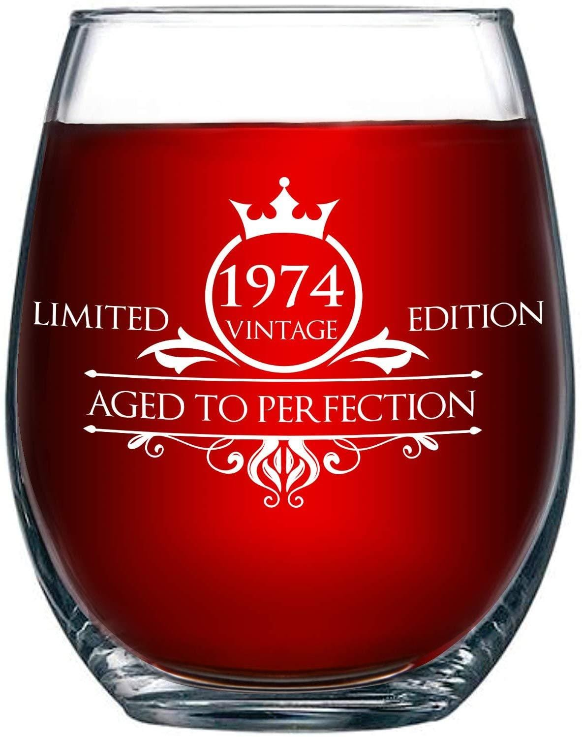 1975 45th Birthday Stemless Wine Glass