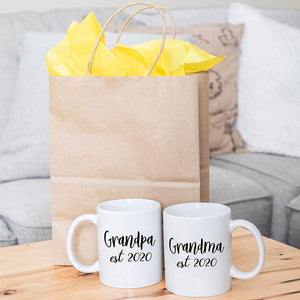 New Grandparents Pregnancy Announcement Coffee Mug Set 11oz - Unique Expecting Gift Idea For Grandma and Grandpa To Be - Perfect Reveal Present Baby Showers - Grandmother and Grandfather Gifts