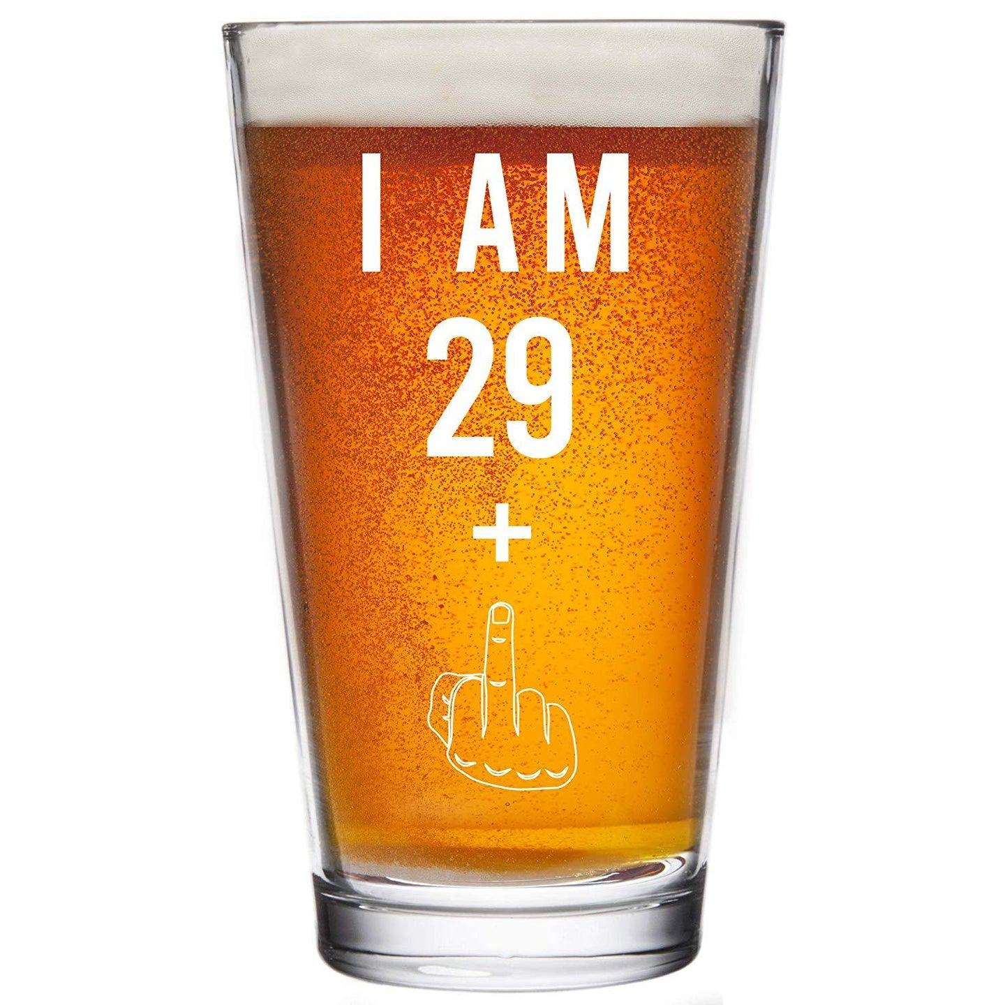 29 + One Middle Finger 30th Birthday Gifts for Men Women Beer Glass – Funny 30 Year Old Presents - 16 oz Pint Glasses Party Decorations Supplies - Craft Beers Gift Ideas for Dad Mom Husband Wife 30 th