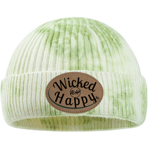 Tie-Dyed Ribbed Beanie/Leather Patch Logo - Green