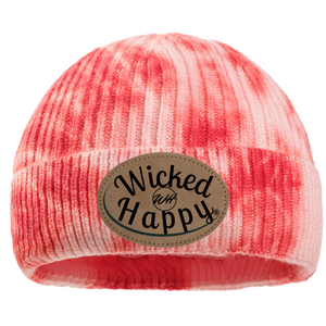 Tie-Dyed Ribbed Beanie/Leather Patch Logo - Red