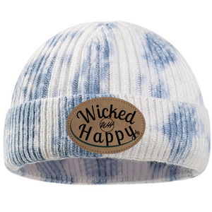 Tie-Dyed Ribbed Beanie/Leather Patch Logo - Blue