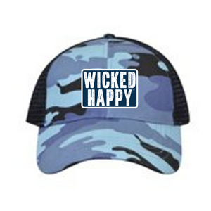 West Coast Structured Trucker Cap - Blue Camo Front / Black Back / Navy Logo