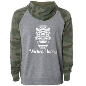 Wicked Happy - Skull Face - Nickel Heather/ Forest Camo