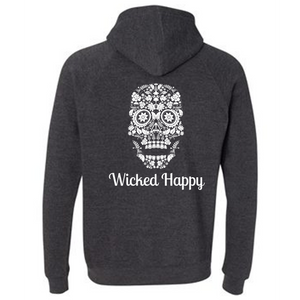 Wicked Happy - Skull Face Dark Grey
