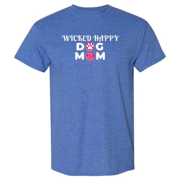 Wicked Happy Dog Mom Paw Print - Heather Sport Royal