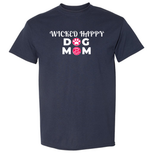 Wicked Happy Dog Mom Paw Print - Heather Sport Dark Navy
