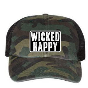 West Coast Garment Washed Trucker Cap - Camo Front / Black Back / Black Logo