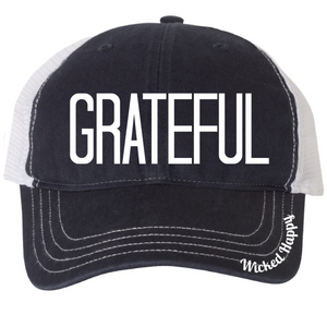 GRATEFUL - GARMENT WASHED TRUCKER CAP - NAVY FRONT/WHITE BACK
