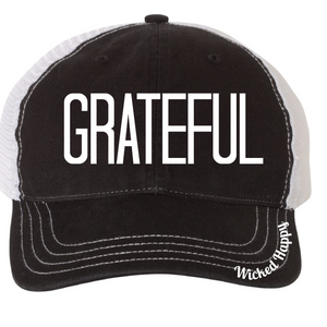 GRATEFUL - GARMENT WASHED TRUCKER CAP - CHARCOAL FRONT/WHITE BACK