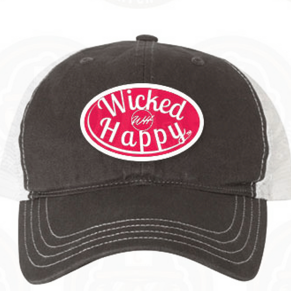 Garment Washed Trucker Cap - Charcoal Front/White Back/Red Logo