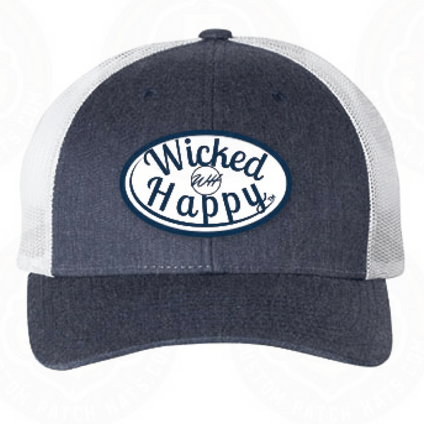 Mid-Level Trucker - Heather Navy-White Back/White Logo