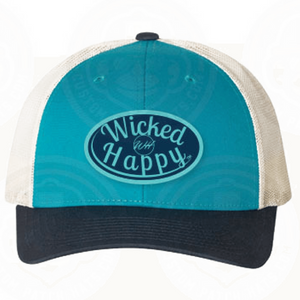 Mid-Level Truckers - Aqua Front-White Back/Navy-Aqua Logo