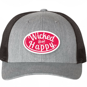 Mid-Level Trucker - Heather Grey-Black Back/Red Logo