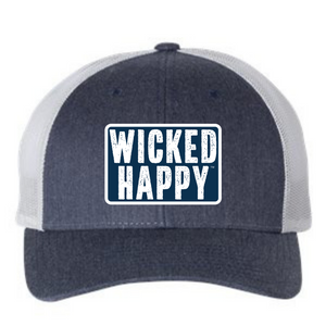 West Coast Mid-Level Trucker - Heather Navy-Silver Back/Navy Logo