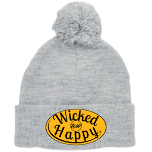 Long Style Pom Pom Beanie Grey - Boston Hockey Signature Logo