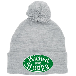 Long Style Pom Pom Beanie Grey - Boston Basketball Signature Logo