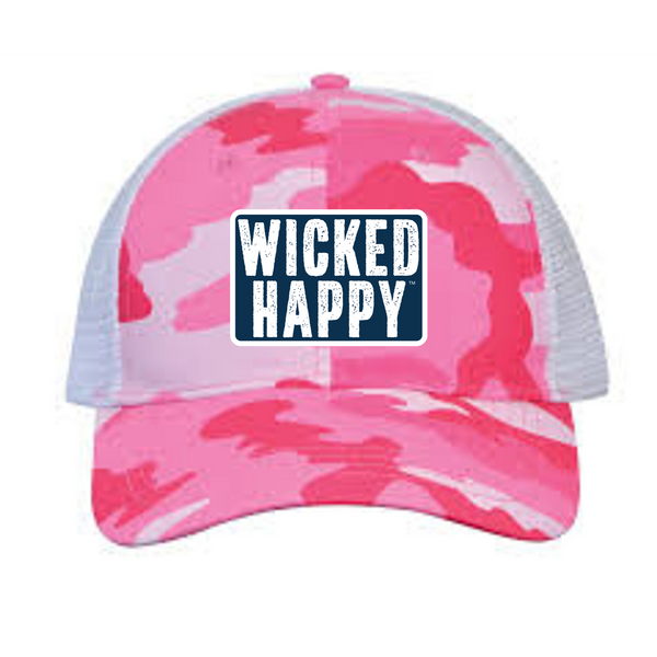 West Coast Structured Trucker Cap - Pink Camo Front / Black Back / Navy Logo