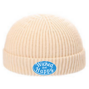 Ribbed Signature Logo Beanie - Cream/Light Blue Logo