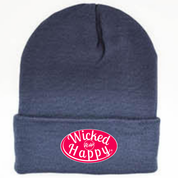 Long Style Red Signature Logo Beanie - Dark Blue