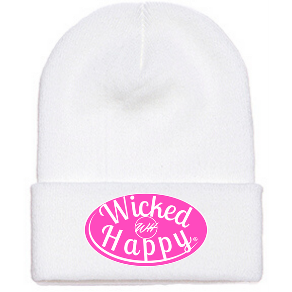 Long Style Pink Signature Logo Beanie - White