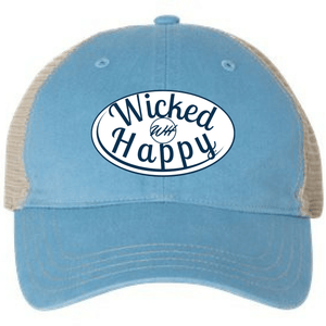 Garment Washed Trucker Cap - Light Blue Front/Khaki Back/White Logo