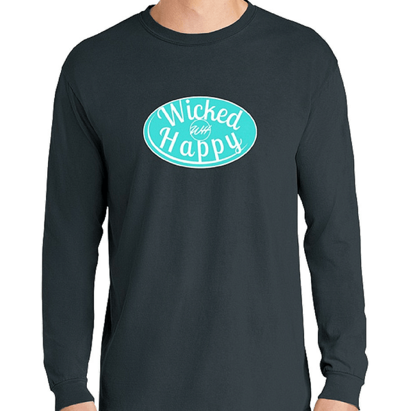 Signature Long Sleeve-Denim Color Shirt/Aqua Logo