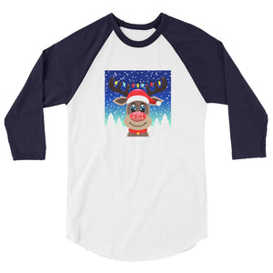 Wicked Happy Rudolph - 3/4 Navy Sleeve Raglan Shirt