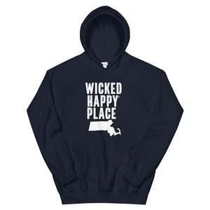 Massachusetts-Wicked Happy Place Unisex Hooded Sweatshirt
