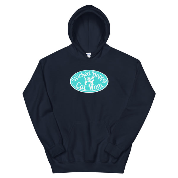 Wicked Happy Cat Mom - Hoodie - Aqua Logo