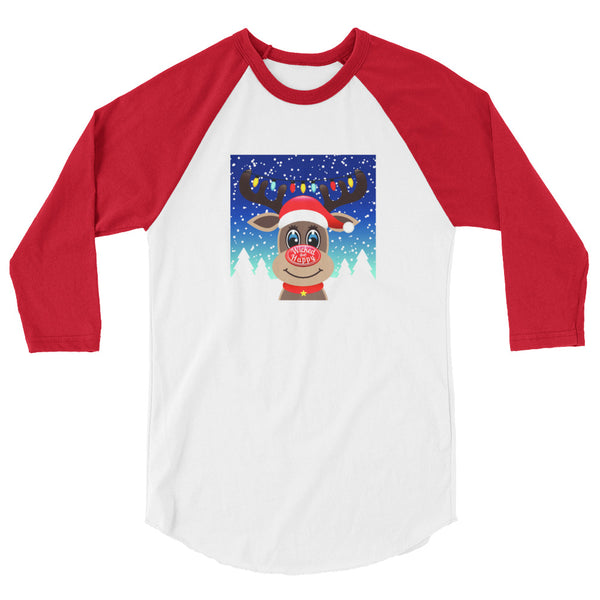 Wicked Happy Rudolph - 3/4 Red Sleeve Raglan Shirt