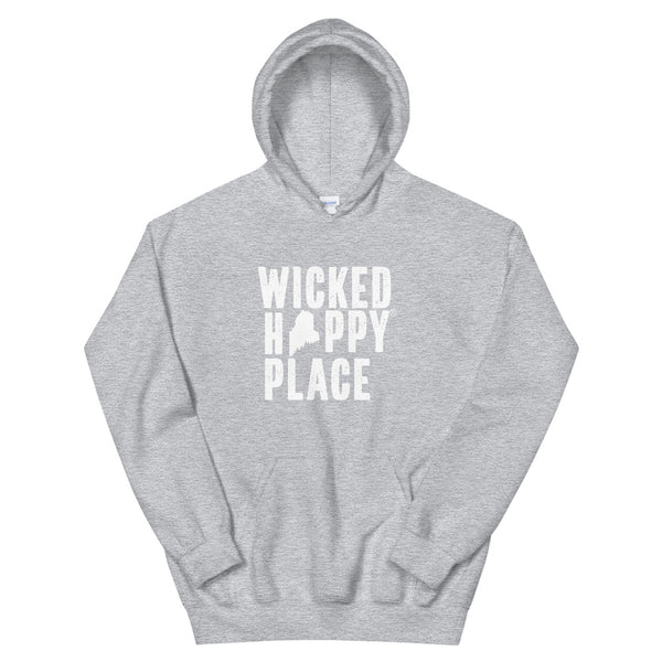 Maine-Wicked Happy Place Unisex Hooded Sweatshirt